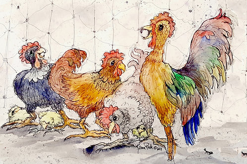 Jazzy Rooster and Hens