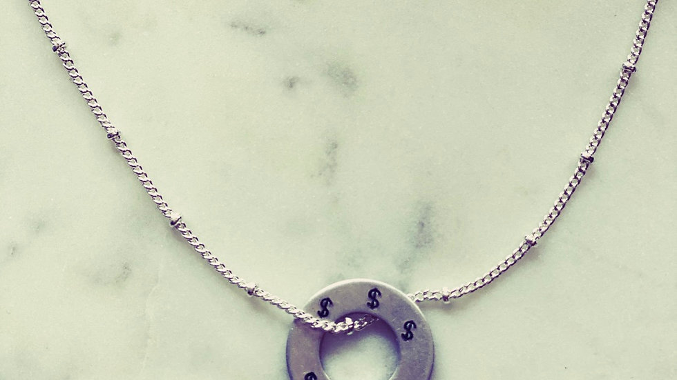 Livin' it up hand stamped necklace