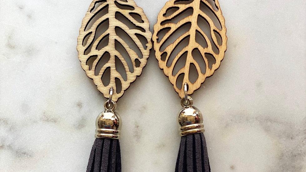 Leaf Tassle Earrings