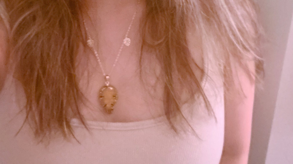 Agate Crystal Monstera Pendant Necklace