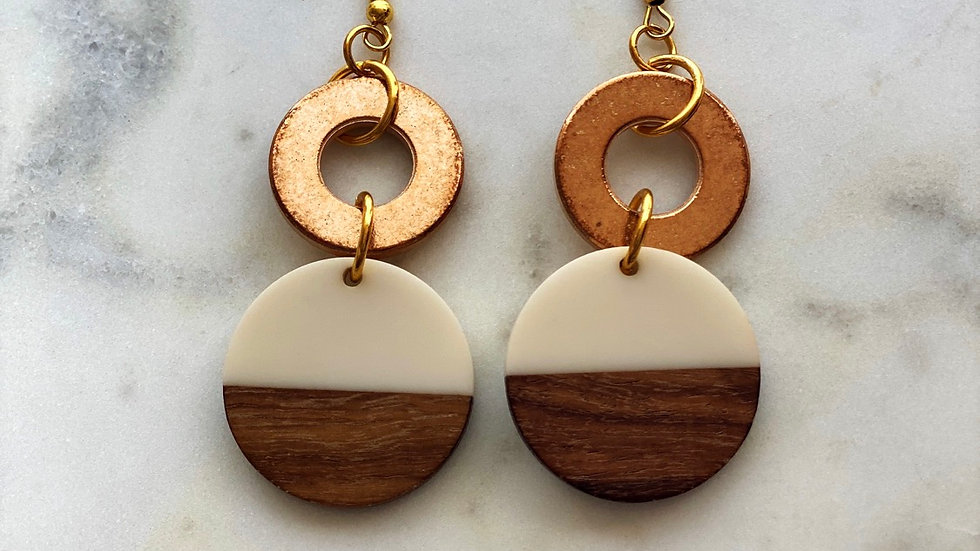 Double Circle Earrings Copper and Wood