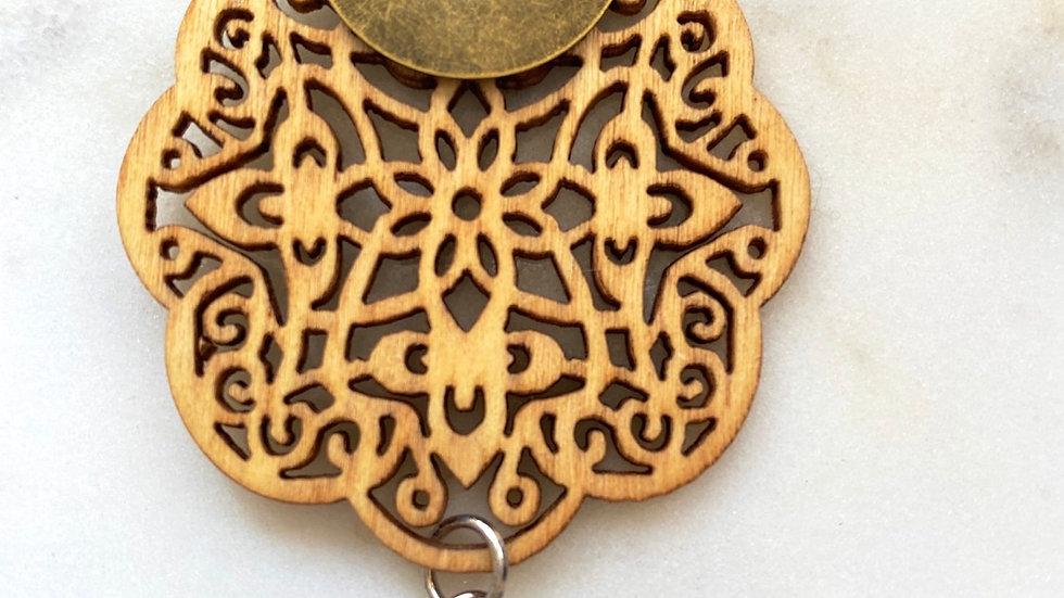 Mandala Hand Stamped Namaste necklace