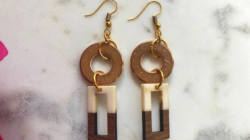 Inquisitive Metal and Wood Earrings