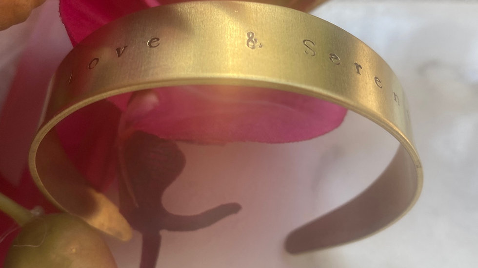 Love & Serenity Thick Gold Brass Stamped Bangle (Adjustable)