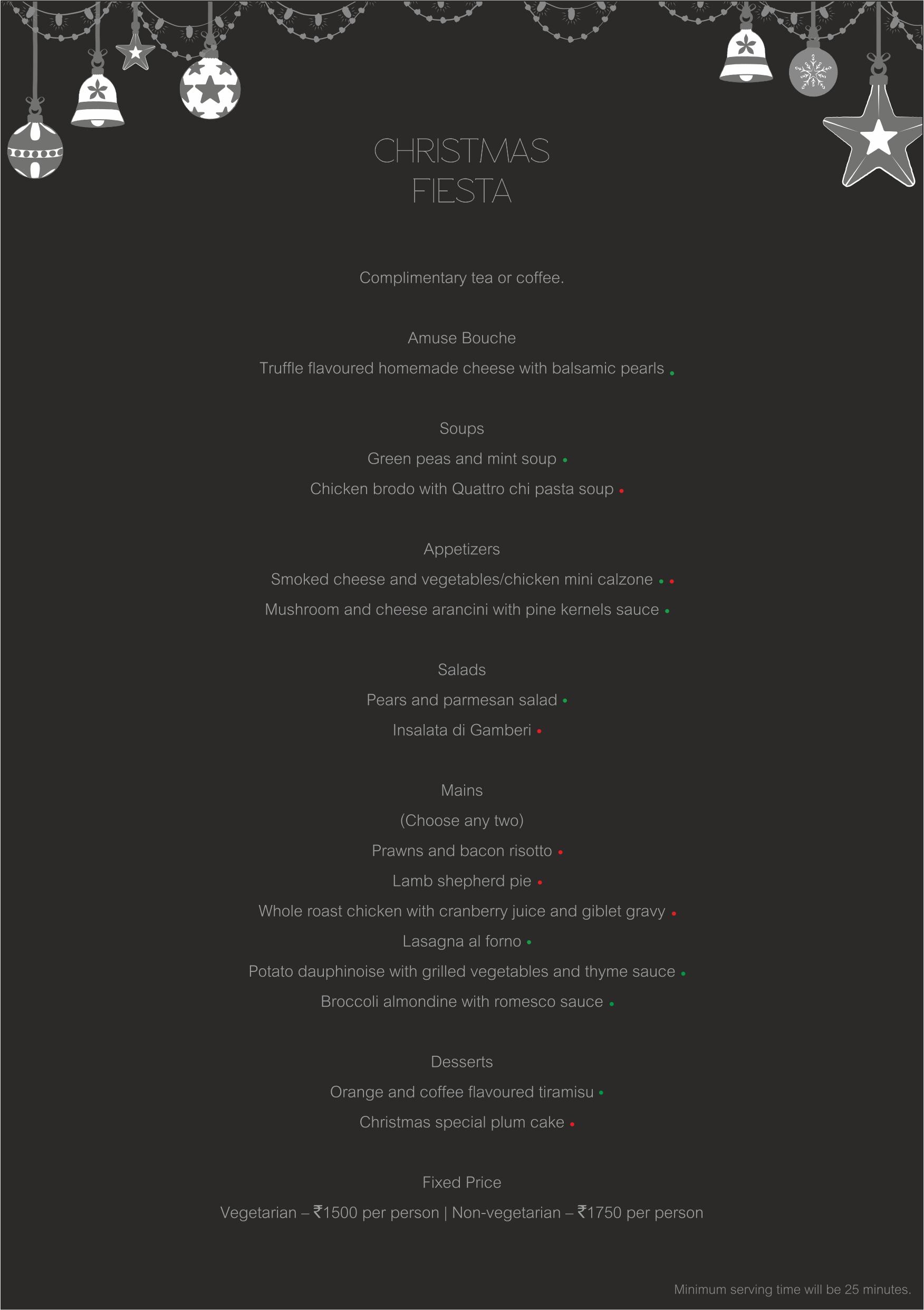 Tab Christmas menu