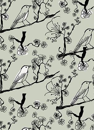 Carte oiseau sur sa branche