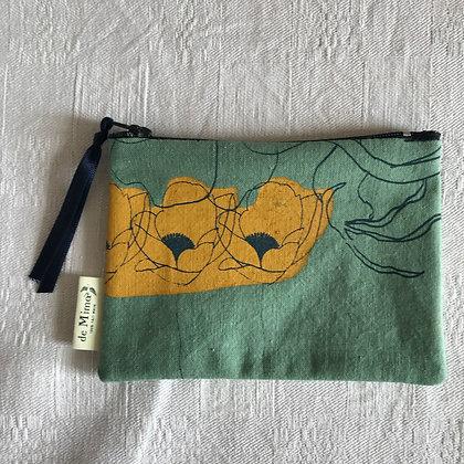 Pochette anémones 14,5 x 9,5 cm