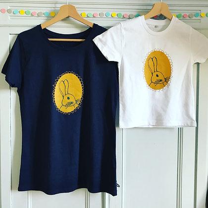 "Tee-shirt ""lapinou calinou"" enfant blanc"