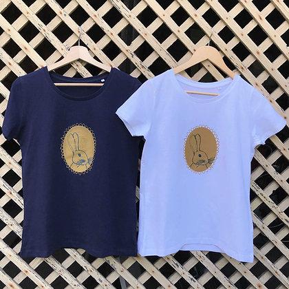 "Tee-shirt ""lapinou calinou"" adulte blanc ou bleu-marine"