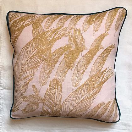 Coussin plumes dorées 50 x 50