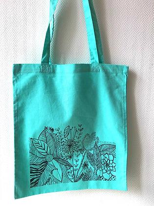 Sac Tote-bag motif végétal