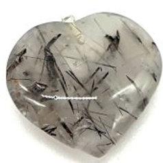Pendentif Coeur Quartz Tourmaline