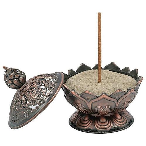 Brûleur d'encens Lotus couleur cuivre