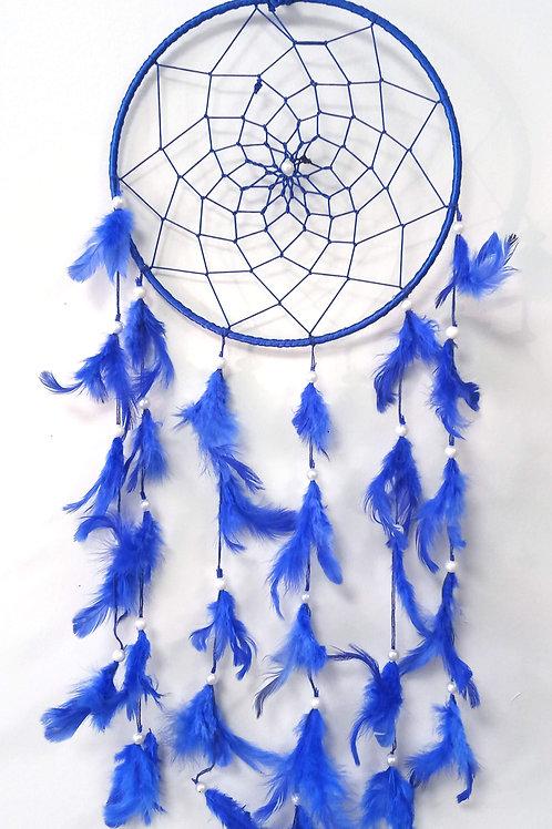 Attrape-Rêves Rond & Plumes Bleu 20cm