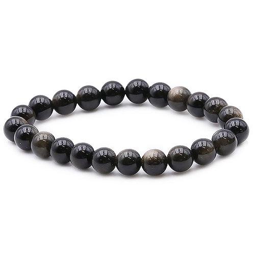 Obsidienne Dorée Bracelet Boule 08mm
