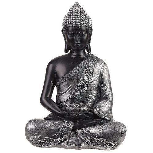 Bouddha Thaïlandais Noir & Argenté avec Porte-bougie