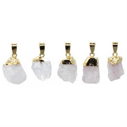 quartz rose brut couleur or  Pendentif