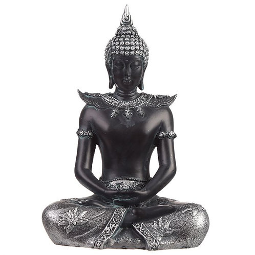 Bouddha Thaïlandais Noir & Argenté - Sérénité