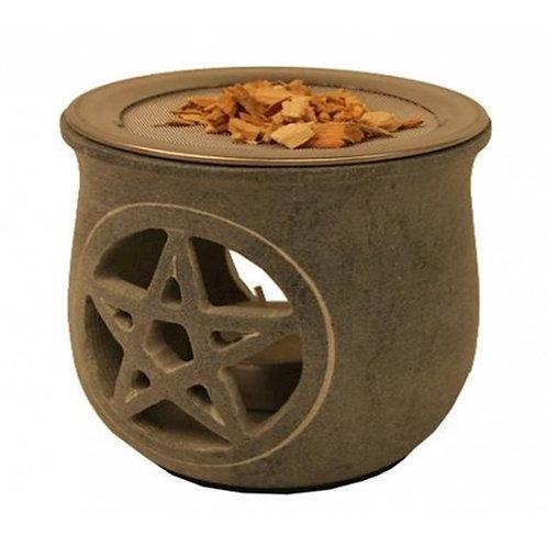 Brûle encens Pentacle en pierre à savon gris
