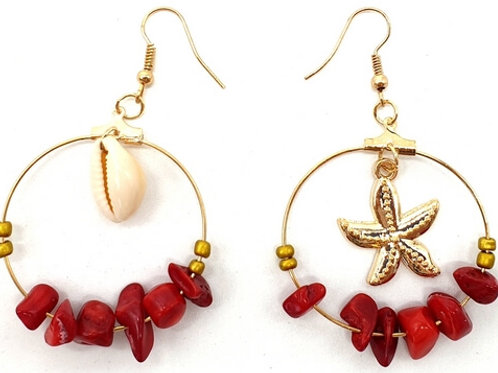 Agate Rouge Boucles d'oreilles Baroque & Coquillages