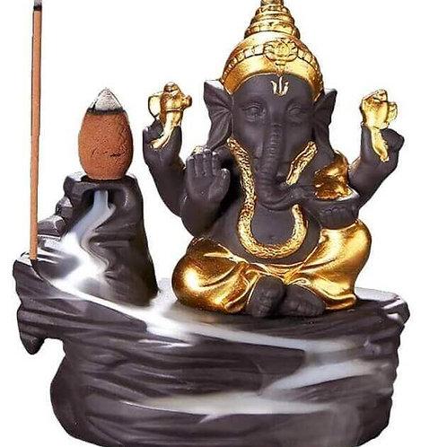 Porte-Encens Backflow Ganesh Or 12cm