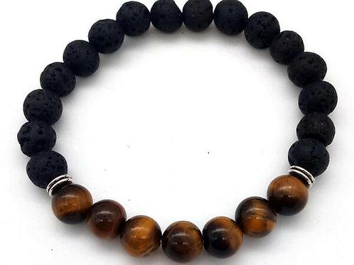 Bracelet Tigre & Lave 7-Mix perles HOMME