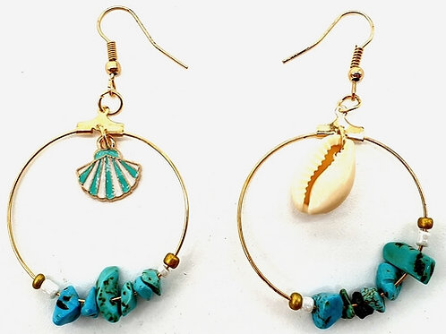 Turquoise Boucles d'oreilles Baroque & Coquillages Turquoise