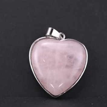 quartz rose naturel pendentifs en forme de cœur