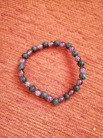 Amethyste/Pierre de lave bracelet boule 6 mm