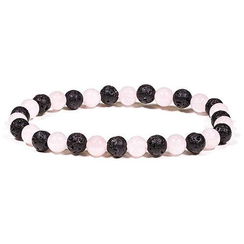 Bracelet lave/quartz rose