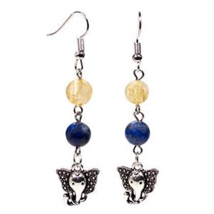 Lapis Lazuli/Quartz rutile & ganesh Boucles d'oreille