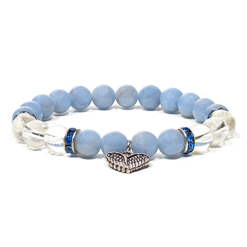 Angélite/cristal de roche bracelet boule