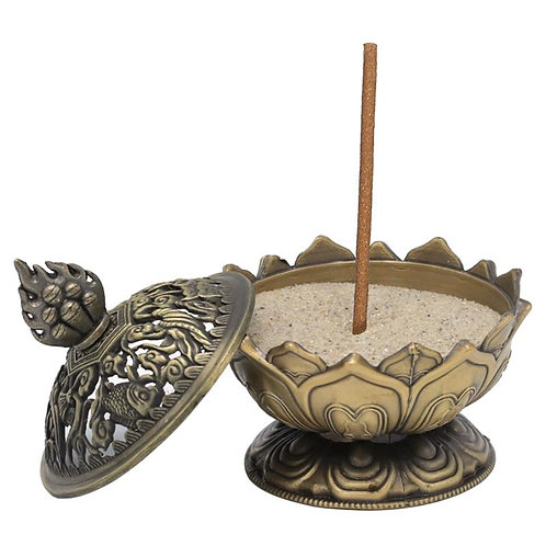 Brûleur d'encens Lotus couleur bronze