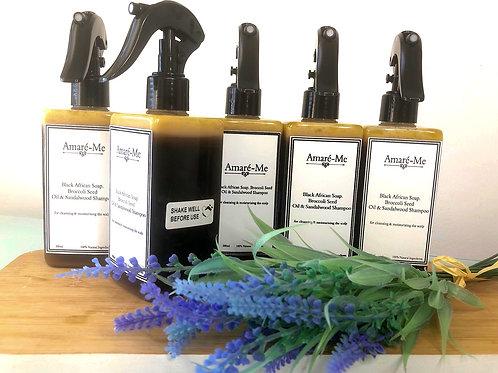 Black African Soap, Broccoli Seed Oil & Sandalwood Shampoo (300ml)