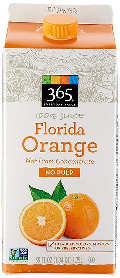 365 Everyday Value, 100% Florida Orange Juice Not From Concentrate, No Pulp, 59