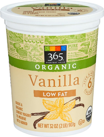 365 Everyday Value, Organic Low Fat Yogurt, Vanilla, 32 oz