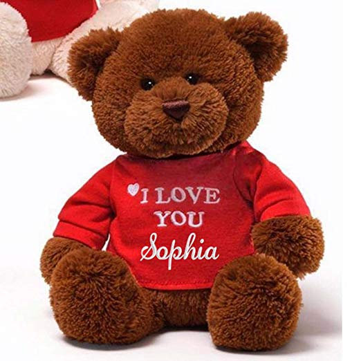 "Personalized I Love You Teddy Bear - 12"" (Brown)"