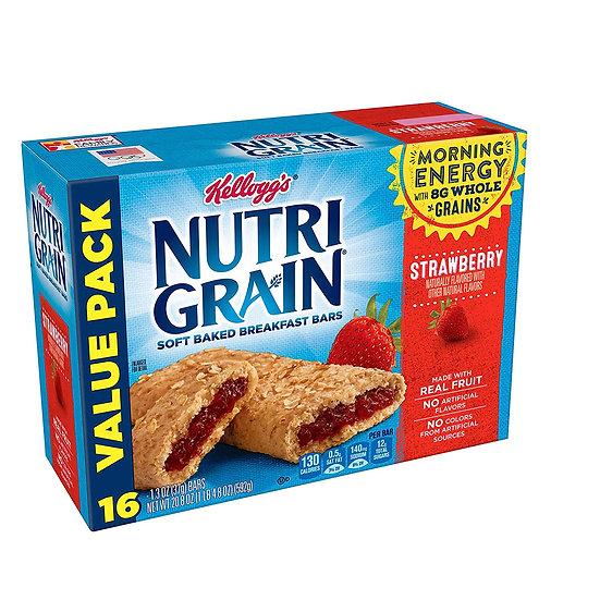 Kellogg's Nutri-Grain, Breakfast Bars, Strawberry, Value Pack, 20.8 oz 16 Count