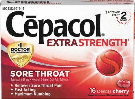 Cepacol Maximum Strength Throat Drop Lozenges, Cherry, 16 ea