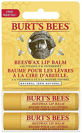 Burt's Bees 100% Natural Moisturizing Lip Balm, Beeswax, 2 Tubes