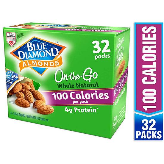 Blue Diamond Almonds Whole Natural Raw Almonds 100 Calorie Bags, 32 Count