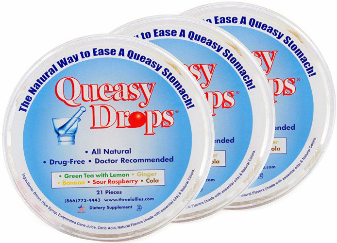 Three Lollies Queasy Drops | Assorted for Nausea Relief |3 Containers | 21 Drops
