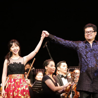 Stephanie Onggowinoto with pianist-composer Ananda Sukarlan