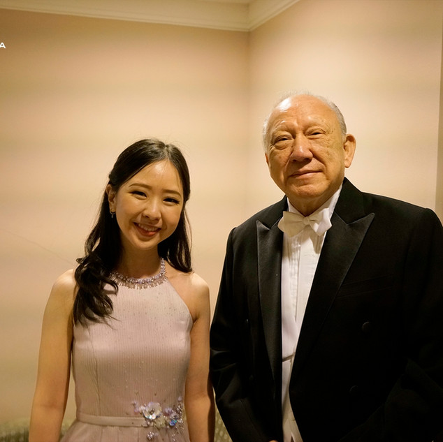 Stephanie Onggowinoto with conductor Rev. Dr. Stephen Tong