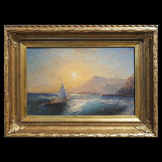 В.И. Думитрашко «Морской пейзаж с парусником на закате солнца»