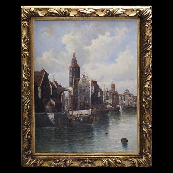Н/х, Западная Европа, «Вид городской набережной с лодками»
