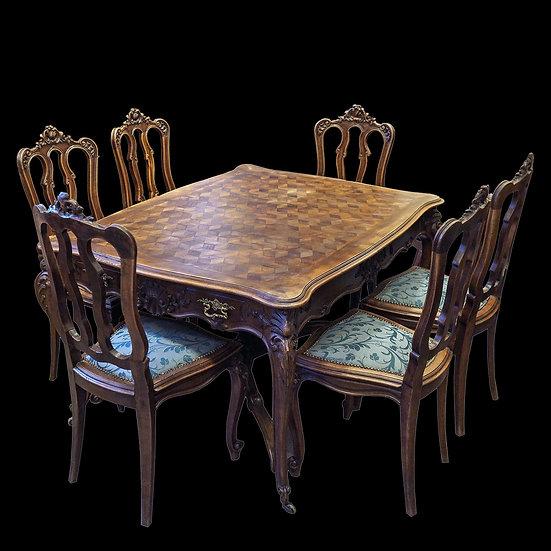 Гарнитур столовый: стол обеденный с наборной столешницей и 6 стульев