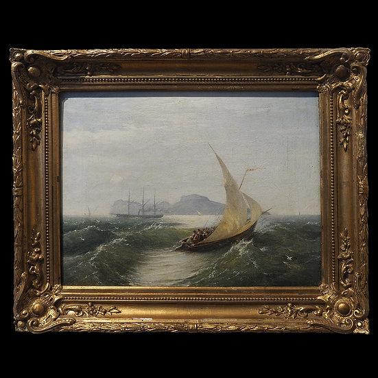 В.И. Думитрашко «Морской пейзаж с парусником и пароходом»