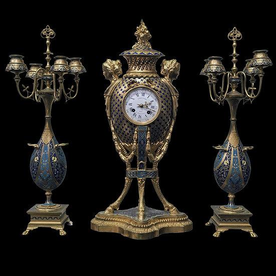 Каминный набор: часы и парные вазы Ф.Барбидьен