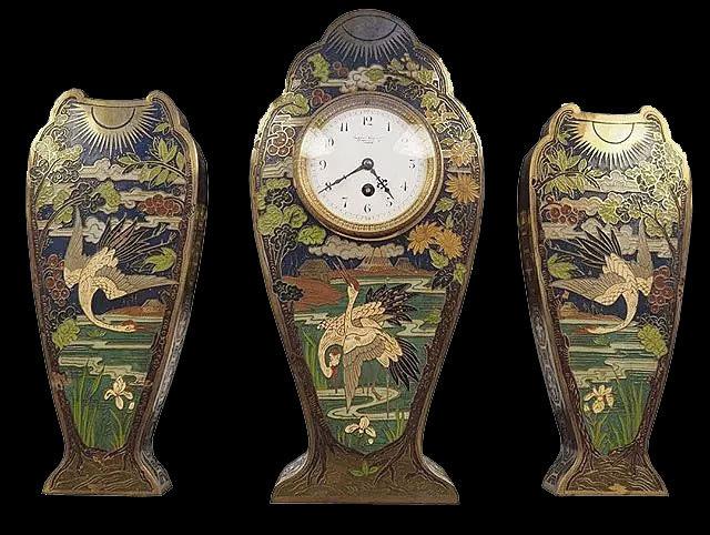 Каминная тройка «Цапли»: часы и парные вазы